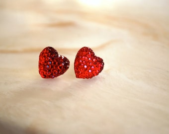 Red Heart Earrings -- Red Hearts, Silver