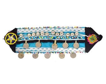 Vintage Kuchi Patch Afghan Tribal Beaded Dress / Kutchi Medallion / 17