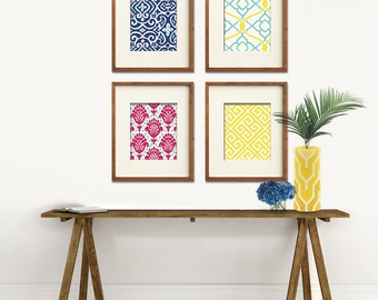 Ikat and Geometric Patterns (Series B) Set of 4 - Art Prints (Featured in Deep Blue, Guava, Sunshine and Robins Egg) Customizable Colors