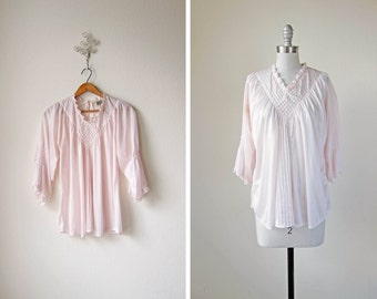 1970s vintage pale light pink lightweight  boho bohemian ethereal silky sheer shirt blouse top m L