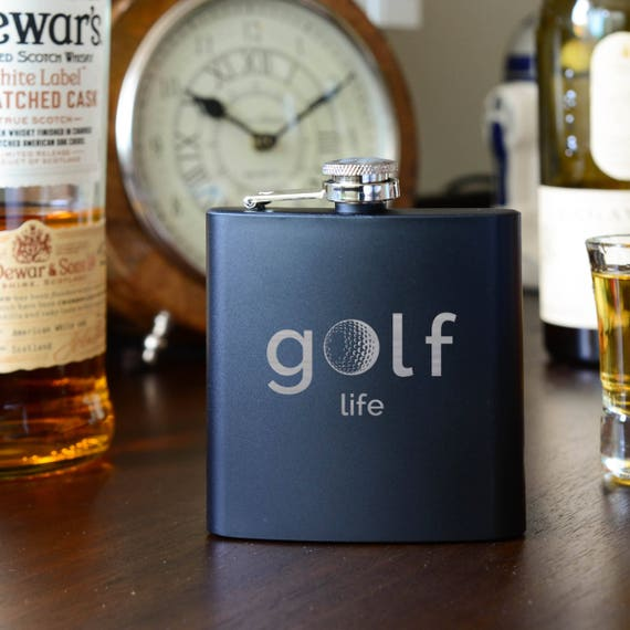 Golf flask | golf gift| laser etched flask | name on flask | wedding party gift | father of bride gift