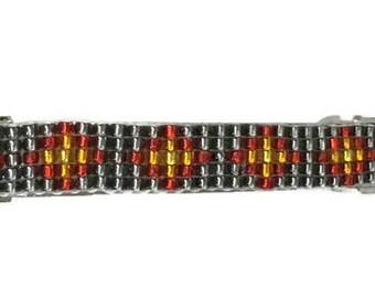 Gray/Red Shiny Loom Beaded Hair Barrette