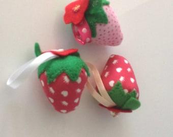 Strawberry pin cushions set of 3