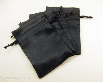 10 4x6 Black Satin Bags with Drawstrings - Wedding Favor Bags, Sachets, Gift Bags, Jewelry Bags