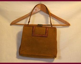 Mustard Brown Suede Lennox Purse/Vintage Handbag/Classic Bag