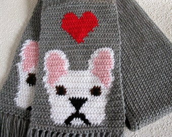 French Bulldog Scarf.  Gray knit and crochet scarf with red hearts and white bulldogs. Crochet dog scarf. Bulldog gift