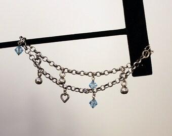 Vintage Sterling Silver Bell Anklet Bracelet, Sterling Silver Charm Anklet