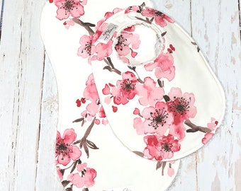 Pink Floral Baby Girl Bib & Burp Cloth Set  - Chenille Triple Layer Design - Newborn, Baby Shower Gift - PINK CHERRY BLOSSOM