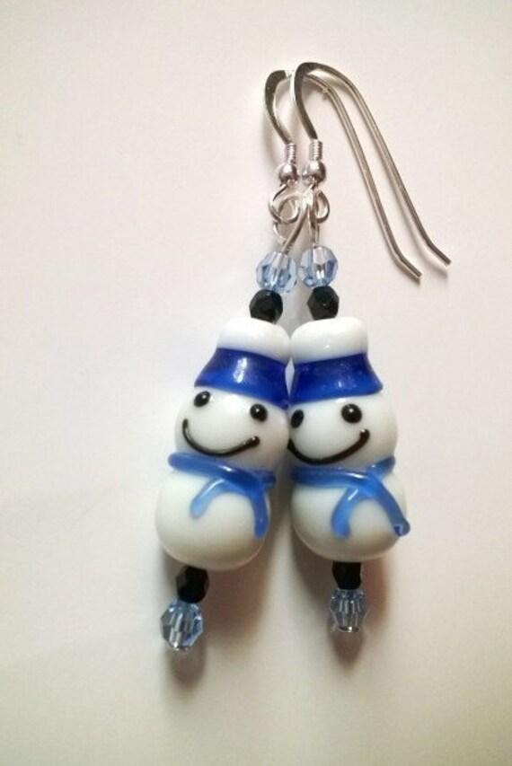 Snowman Earrings, Frosty Winter Jewelry, Snow Holiday Earrings, Let It Snow