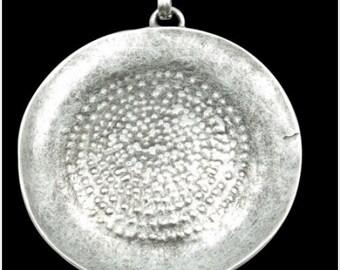 1 pcs. ROUND BOHO Pendant, antique silver (P2015)