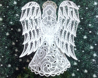 Victorian Lace Angel Tree Topper with Silver Halo