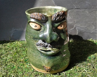 MUG: Large Green Face Mug with Mustache and Goatee #20  | Wheel Thrown Hand Sculpted  Stoneware Pottery Coffee Mug