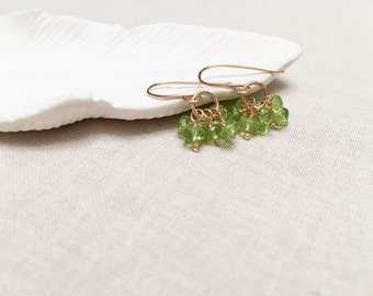 Genuine Peridot Cluster Gold Drops - 14k Yellow Gold Fill Wire Wrapped Genuine Faceted Peridot Earrings Gift for Her August Birthstone