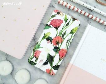 Cat Flowers iPhone Case iPhone 8 Case iPhone 8 Plus Case iPhone 7 Case iPhone 7 Plus Case iPhone 6S Case iPhone 6S Plus Case Matte Floral