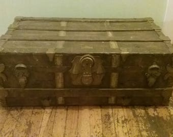 Antique Steamer Trunk,  Wood And Metal Trunk, Antique Wooden Trunk, Distressed Trunk, Wooden Chest, Old Chest,  Wooden Steamer Trunk, Trunk