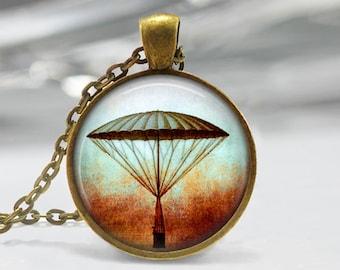 Hot Air Balloon Pendant, Hot Air Balloon Art Pendant, Hot Air Balloon Necklace, Hot Air Balloon Jewelry, Vintage Hot Air Balloon Art, 1208