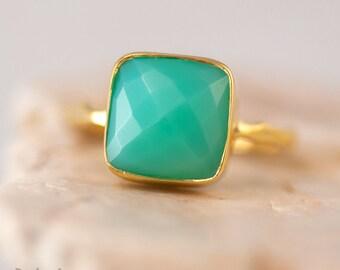 Sea Foam Green Chrysoprase Ring Gold, Gemstone Ring, Stacking Ring, Cushion Cut Ring, Handmade Ring, Boho Ring, Gift for Her