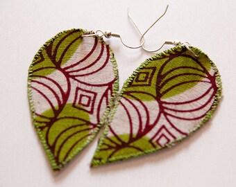 Lime green fabric leaf earrings - Funky Bohemian chic Jewelry