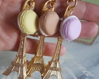 Key Chain Color gold Tour Eiffel bijoux macarons in Fimo