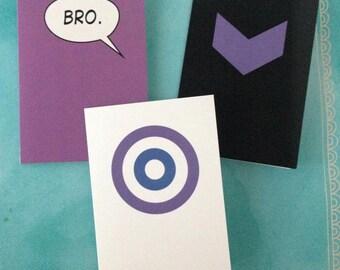 Hawkeye Note Cards Marvel Comic Inspired Gift Clint Barton Kate Bishop Marvel Hawkeye Super hero Greeting Card Stationery Nerd Geek Avenger