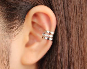 Ear cuff, no piercing, non pierced, ear climber, CZ ear cuff, ear crawler, no pierce, ear jacket, CZ ear climber, gold ear cuff, minimal