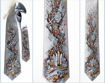 "Hand-painted Silk Tie ""Winter Apples"". Gray Silk Tie. Gift for Him. Original Artwork on Silk Satin.  Autumn Tree Necktie."