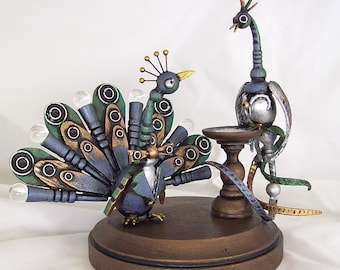 Peacock Wedding Cake Topper Unique Handmade Bird Cake Topper Detailed Wood Animal Bride Groom Wedding Top Peacock Statue