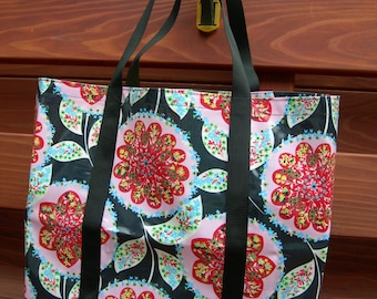 Laminated Cotton Flower Print Market Tote Large