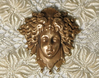 French Mystic Goddess Brass Stamping Antique Rococo Style Jester's Costume Made in France 537J