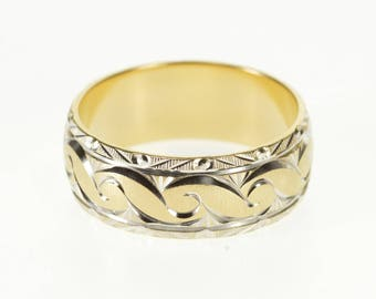14k Two Tone Ornate Scroll Patterned Wedding Band Ring Gold
