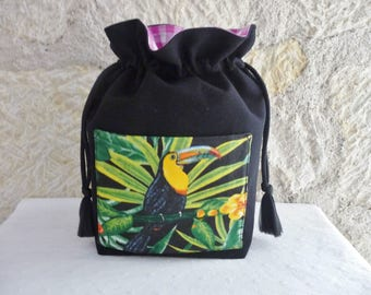 Basket Organizer black Toucan - fabric basket storage, exotic, tropical home decor