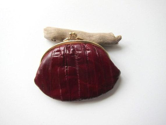 Eel Skin Leather Wallet 70s Dark Red Supple Coin Purse Kiss Lock Change Purse Pouch Vintage Womens