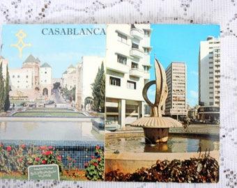 Casablanca Postcard, Morocco Postcard, Casablanca Morroco, Vintage Casablanca Souvenir, Vintage Morocco Souvenir
