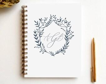 custom monogram wire journal | monogram journal | modern calligraphy | wedding guest book | honeymoon journal | anniversary gift