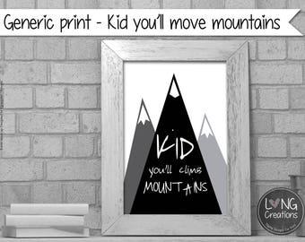 mountain digital print - you'll move mountains - quote printable - nursery decor - minimalist print - monochrome wall art - instant download