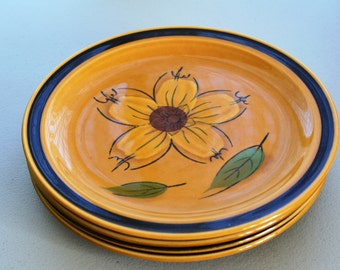 """Set of 4 Stoneware Bread & Butter Side Plates 7.25"""" Designer's Collection 1970s Kitch Kitchen Honey Brown Handpainted Flower 1970s Plates"""