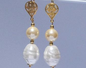 Baroque Pearl Earrings Gold Filigree Drop Earrings Gift for Bridesmaids Girlfriends Handmade Bespoke Bridal Earrings