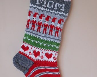 Personalized Christmas Stocking Hand Knitted With Gnomes Christmas Gift Christmas Decoration