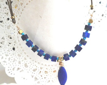 Lapis gemstone necklace - Blue matte stone gold filled pendant- December birthstone -Wire wrapped leather  blue point necklace- Women gift