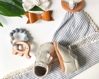 Brown and Gray Leather Baby Moccasins - Toddler Moccasins -Soft Soled Shoes- baby Shoes- Baby Shoes- Baby Girl Shoes- baby shower
