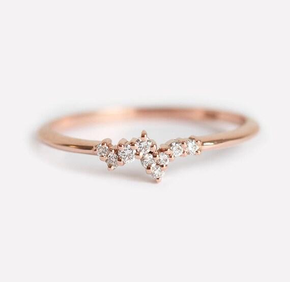 Lovely Mini Diamond Cluster Ring Tiny Cluster Ring Tiny Diamond II16