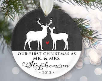 Our First Christmas as Mr & Mrs Chalkboard Personalized Buck and Doe Deer Christmas Ornament Newlywed Ornament Wedding Ornament OR335