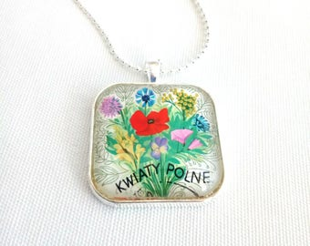 postage stamp necklace, floral folk art, Polska 1967 vintage postage stamp, flower necklace