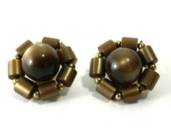 Vintage Earrings Army Green Bronze Flower Clip Ons