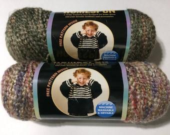 2 Lion Brand Homespun Yarn 362 Quartz 347 Mediteranean 6oz each Pink Purple Beige - Green