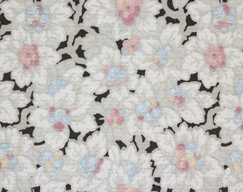 1900s Vintage Antique Wallpaper Pink Blue White Flowers on Black by the Yard