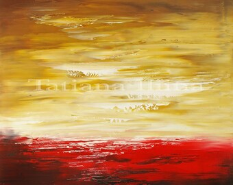 Abstract painting canvas print of original seascape texture stretched art CRIMSON COAST - signed by Tatiana Iliina, Free shipping Canada USA