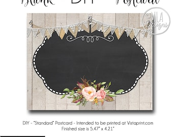 Rustic Business Card, DIY Vistaprint Standard Size Postcard, Rustic Romance, Blank Template Instant Download - Notecard Inviation