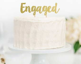 Engaged Cake Topper, Engagement Cake Topper, Engagement Party, Bridal Shower Cake Topper, Engagement Decor