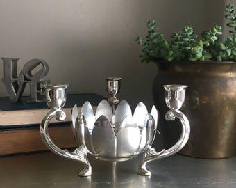 vintage silver lotus candle holder floral frog centerpiece flower arranger